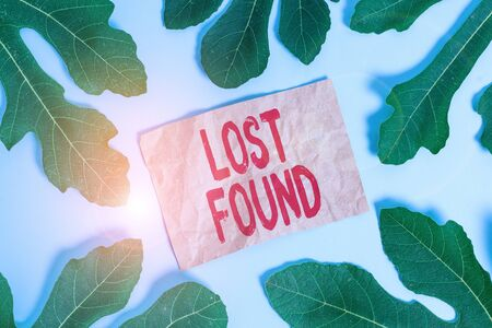 Word writing text Lost Found. Business photo showcasing Things that are left behind and may retrieve to the owner