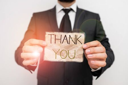 Writing note showing Thank You. Business concept for replaying on something good or greetings with pleased way