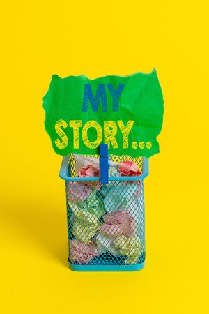 Word writing text My Story. Business photo showcasing telling someone or readers about how you lived your life Trash bin crumpled paper clothespin empty reminder office supplies yellow