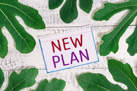Text sign showing New Plan. Business photo showcasing Start of a detailed proposal of doing or achieving something