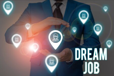 Word writing text Dream Job. Business photo showcasing An act that is paid of by salary and giving you hapiness Male human wear formal work suit presenting presentation using smart device