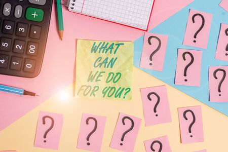Text sign showing What Can We Do For You Question Question Question. Business photo text how may I help assist Mathematics stuff and writing equipment above pastel colours background
