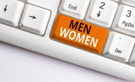 Writing note showing Men Women. Business concept for The state where in a boy or a girl turns to be a mature adult White pc keyboard with note paper above the white background