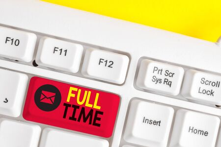 Text sign showing Full Time. Business photo text working or operating the customary number of hours in a day White pc keyboard with empty note paper above white background key copy space