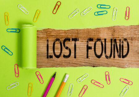 Conceptual hand writing showing Lost Found. Concept meaning Things that are left behind and may retrieve to the owner