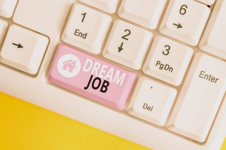 Word writing text Dream Job. Business photo showcasing An act that is paid of by salary and giving you hapiness White pc keyboard with empty note paper above white background key copy space