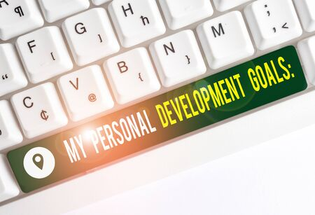 Text sign showing My Personal Development Goals. Business photo text Desires Wishes Career Business planning White pc keyboard with empty note paper above white background key copy space