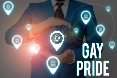 Word writing text Gay Pride. Business photo showcasing Dignity of an idividual that belongs to either a analysis or woanalysis Male human wear formal work suit presenting presentation using smart device