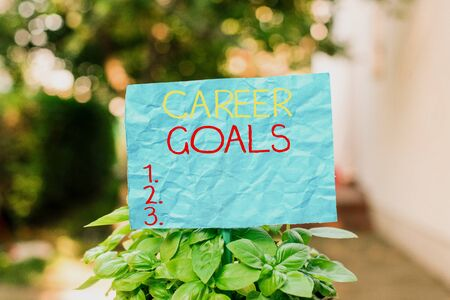 Conceptual hand writing showing Career Goals. Concept meaning profession that an individual intends to pursue in his career Plain paper attached to stick and placed in the grassy land