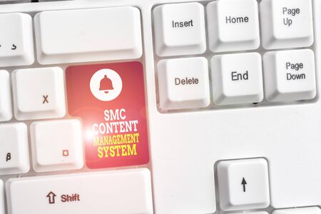 Writing note showing Smc Content Management System. Business concept for analysisgae creation and modification of posts White pc keyboard with note paper above the white background Standard-Bild