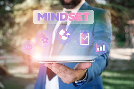 Text sign showing Mindset. Business photo showcasing A standard thought of a demonstrating of what he orshe will be done Male human wear formal work suit presenting presentation using smart device Standard-Bild