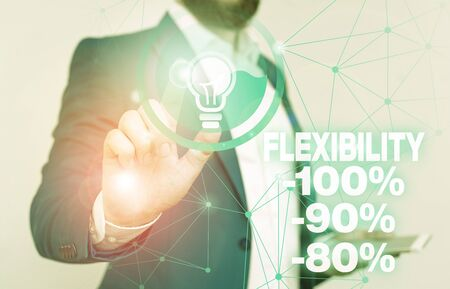 Word writing text Flexibility 100 Percent 90 Percent 80 Percent. Business photo showcasing How much flexible you are maleability level Male human wear formal work suit presenting presentation using smart device