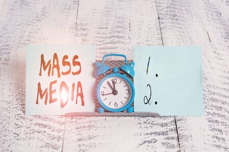 Conceptual hand writing showing Mass Media. Concept meaning Group showing making news to the public of what is happening Stock Photo