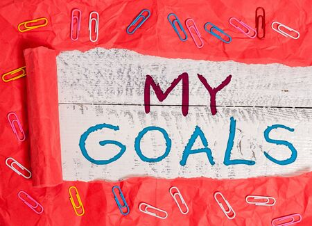 Word writing text My Goals. Business photo showcasing Future or desired result that a demonstrating commits to achieve