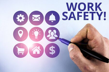 Conceptual hand writing showing Work Safety. Concept meaning policies and procedures in place to ensure health of employees Male designing layout presentation concept for business promotion
