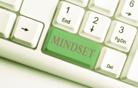 Text sign showing Mindset. Business photo showcasing A standard thought of a demonstrating of what he orshe will be done White pc keyboard with empty note paper above white background key copy space