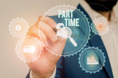 Text sign showing Part Time. Business photo showcasing A work or job that is not peranalysisent but able to perform well Male human wear formal work suit presenting presentation using smart device Stok Fotoğraf