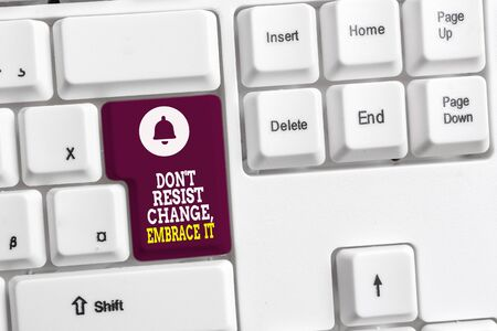 Writing note showing Don T Resist Change Embrace It. Business concept for Be open to changes try new things positive White pc keyboard with note paper above the white background Stock Photo