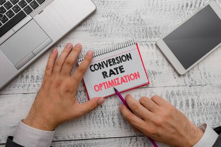 Word writing text Conversion Rate Optimization. Business photo showcasing system for increasing percentage of visitors