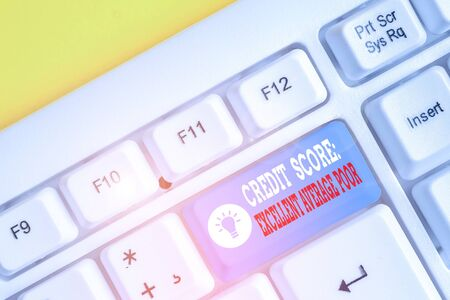 Conceptual hand writing showing Credit Score Excellent Average Poor. Concept meaning Level of creditworthness Rating Report White pc keyboard with note paper above the white background