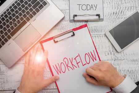 Text sign showing Workflow. Business photo showcasing Continuity of a certain task to and from an office or employer 版權商用圖片