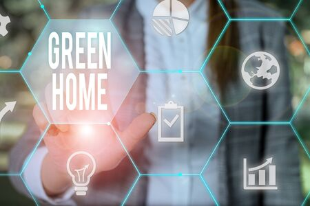 Text sign showing Green Home. Business photo text An area filled with plants and trees where you can relax Female human wear formal work suit presenting presentation use smart device