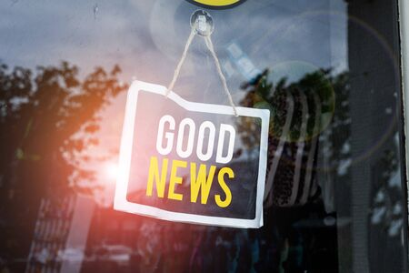 Text sign showing Good News. Business photo text Someone or something positive,encouraging,uplifting,or desirable Empty black board with copy space for advertising. Blank dark board