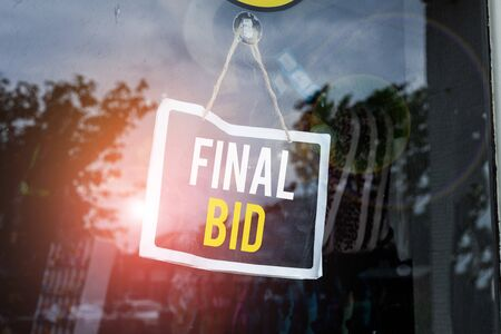 Text sign showing Final Bid. Business photo text The decided cost of an item which is usualy very expensive Empty black board with copy space for advertising. Blank dark board Stock fotó