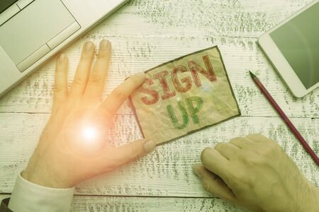 Handwriting text Sign Up. Conceptual photo use your information to register in website team college or blog Stock Photo