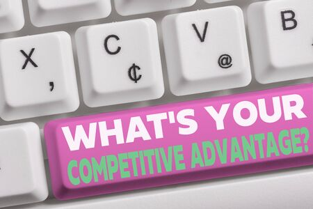Word writing text What S Your Competitive Advantage Question. Business photo showcasing Marketing strategy Plan White pc keyboard with empty note paper above white background key copy space Stock fotó