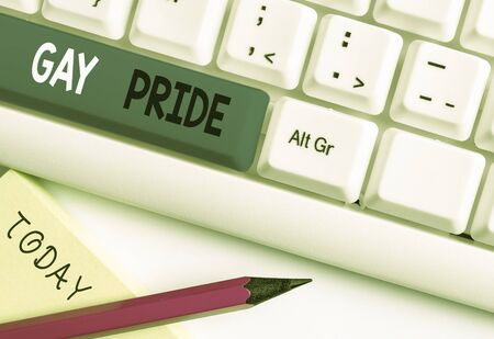 Writing note showing Gay Pride. Business concept for Dignity of an idividual that belongs to either a analysis or woanalysis White pc keyboard with note paper above the white background