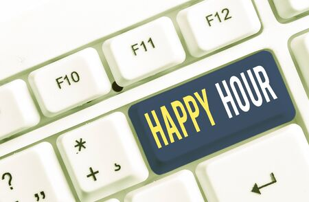 Text sign showing Happy Hour. Business photo showcasing Spending time for activities that makes you relax for a while White pc keyboard with empty note paper above white background key copy space
