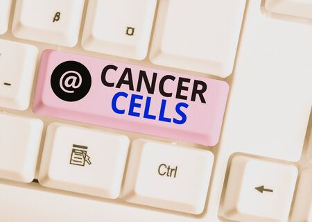 Word writing text Cancer Cells. Business photo showcasing forming solid tumors or flooding the blood with abnormal cells White pc keyboard with empty note paper above white background key copy space
