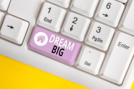 Word writing text Dream Big. Business photo showcasing To think of something high value that you want to achieve White pc keyboard with empty note paper above white background key copy space
