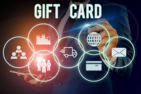 Word writing text Gift Card. Business photo showcasing A present usually made of paper that contains your message Male human wear formal work suit presenting presentation using smart device