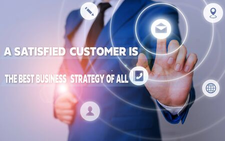 Word writing text A Satisfied Customer is the be. Business photo showcasing A Satisfied Customer Is The Best Business Strategy Of All