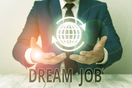 Text sign showing Dream Job. Business photo showcasing An act that is paid of by salary and giving you hapiness 写真素材