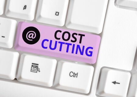 Word writing text Cost Cutting. Business photo showcasing actions taken to reduce the amount that is spent on a service White pc keyboard with empty note paper above white background key copy space