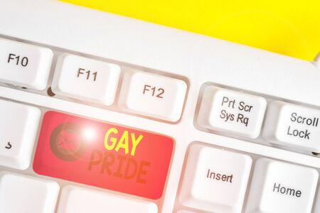 Text sign showing Gay Pride. Business photo text Dignity of an idividual that belongs to either a analysis or woanalysis White pc keyboard with empty note paper above white background key copy space