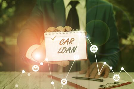 Writing note showing Car Loan. Business concept for taking money from bank with big interest to buy new vehicle Stockfoto