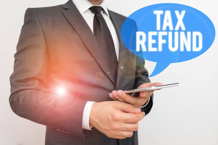Writing note showing Tax Refund. Business concept for applied when money liability is less than the paid ones Stock fotó - 131387882