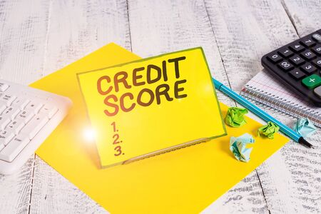 Conceptual hand writing showing Credit Score. Concept meaning creditworthiness of an individual based on credit files