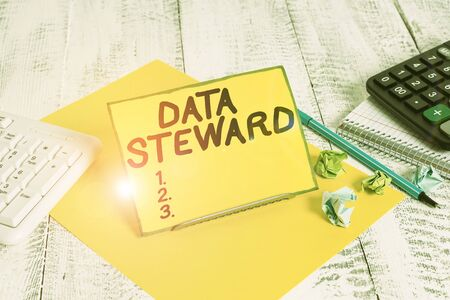 Conceptual hand writing showing Data Steward. Concept meaning responsible for utilizing an organization s is data governance Stock fotó