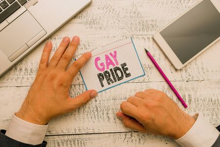 Conceptual hand writing showing Gay Pride. Concept meaning Dignity of an idividual that belongs to either a analysis or woanalysis