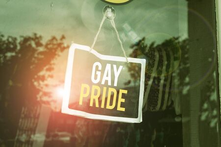 Text sign showing Gay Pride. Business photo text Dignity of an idividual that belongs to either a analysis or woanalysis Empty black board with copy space for advertising. Blank dark board Stok Fotoğraf