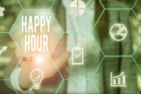 Text sign showing Happy Hour. Business photo text Spending time for activities that makes you relax for a while Female human wear formal work suit presenting presentation use smart device