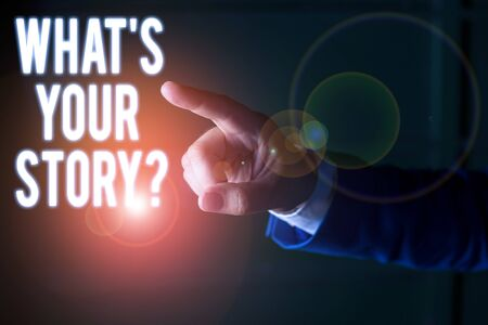 Word writing text What S Your Story Question. Business photo showcasing asking demonstrating about his past life actions career or events Isolated hand pointing with finger. Business concept pointing finger