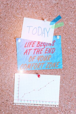 Handwriting text Life Begins At The End Of Your Comfort Zone. Conceptual photo Make changes evolve grow Corkboard color size paper pin thumbtack tack sheet billboard notice board