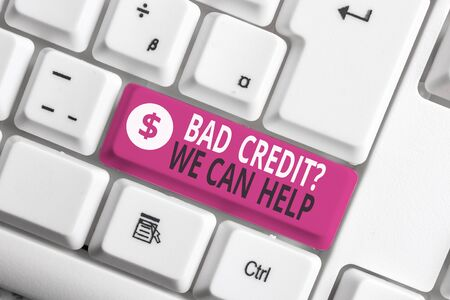 Writing note showing Bad Credit Question We Can Help. Business concept for Borrower with high risk Debts Financial White pc keyboard with note paper above the white background