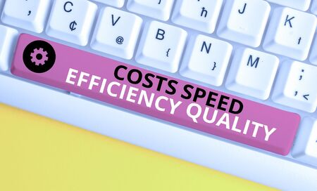 Conceptual hand writing showing Costs Speed Efficiency Quality. Concept meaning Efficient operation inputs outputs balance White pc keyboard with note paper above the white background